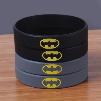 Batman Dark Knight gift Christmas New arrival DC comic hero silicone bracelet china BATMAN black rubber wristband Debossed yellow word silicone bangle AT_71_6