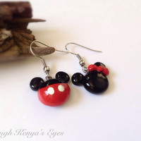 Through Kenya's Eyes - Disney,  Mickey & Minnie Mouse Polymer Clay, Drop Dangle Earrings, Gift, Disney Lover, Mickey Mouse,
