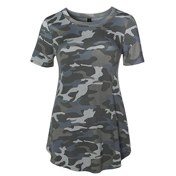 LE3NO Womens Casual Loose Fit Round Neck Camo Print Short Sleeve Stretchy Tunic Top