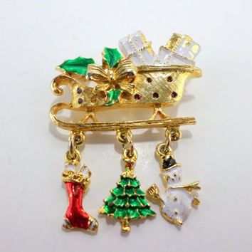 Christmas Charm Pin Brooch Santa Sleigh Holiday Snowman Christmas Tree Christmas Stocking Charms Dangle Vintage Brooch