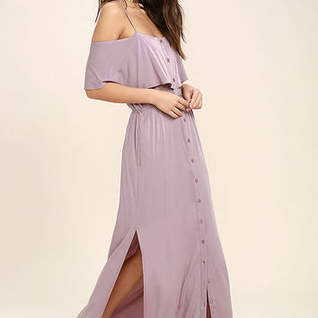 Life's Wonders Mauve Off-the-Shoulder Maxi Dress