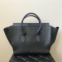 Celine Dark Navy Smooth Calfskin Medium Tie Tote Bag