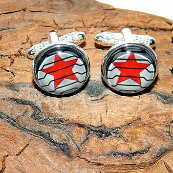 Winter Soldier logo Cufflinks, Superhero cufflinks, Captain America cufflinks, Bucky Barnes logo cufflinks, Winter Soldier simbol patch