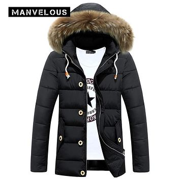 Manvelous Hooded Parka Winter Jacket Men Casual Straight Solid Pocket Down Jacket 3 XL Black Mens Winter Jackets Parkas Coats