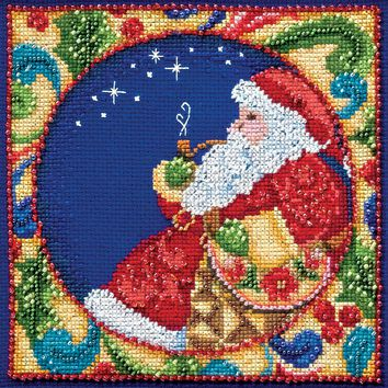 """Santa (18 Count) Mill Hill/Jim Shore Counted Cross Stitch Kit 5""""X5"""""""