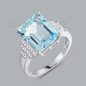 india gemstone blue topaz ring jewellery emerald cut 10x12mm 14k white gold r00322