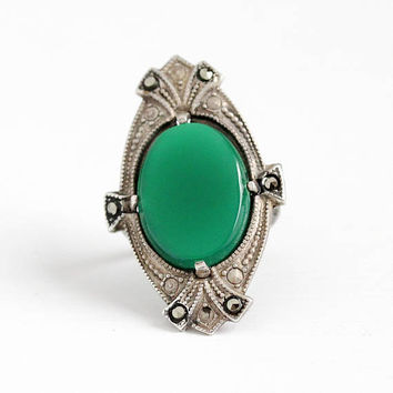 Vintage Art Deco Sterling Silver Marcasite & Green Chalcedony Ring - 1930s Size 5 Statement Green Gemstone Shield Style Jewelry