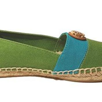 Tory Burch Beacher Flat Espadrille Canvas Shoes Size 7.5 Leaf Green
