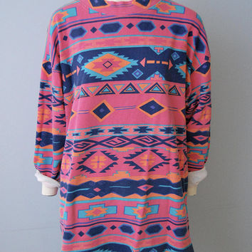 Vintage 1990's 1980's Southwestern Bohemian Print Oversized Sweatshirt Tunic Top Dress Shirt Mock Turtleneck Hot Pink Pattern Tribal Print