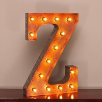 "24"" Letter Z Lighted Vintage Marquee Letters with Screw-on Sockets"