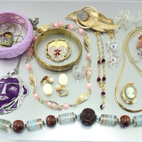 SHOP SALE - WOW Big Vintage Jewelry Lot. Avon, West Germany, Bracelets, Earrings, Necklaces. Destash, overstock, resell.