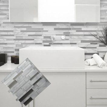 White Grey Marble Mosaic Peel and Stick Wall Tile Self adhesive Backsplash DIY Kitchen Bathroom Home Wall Decal Sticker Vinyl 3D