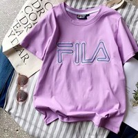 Fila Bust Word Print Women Men Cotton Tee Shirt Top  B-YF-MLBKS Light Purple