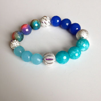 Ready to ship 81/2 Inch Agate and Silver Bead Bracelet