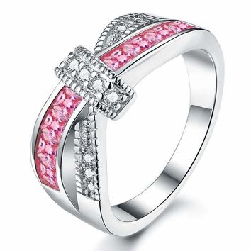 Pink Criss Cross White Gold Plated Cubic Zirconia Ring