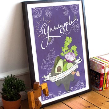 Guacamole Recipe Mexican Kitchen Print Day of the Dead Theme Poster Giclee on Cotton Canvas and Paper Canvas Wall Decor
