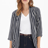 FOREVER 21 Striped Soft Blazer Midnight/Cream