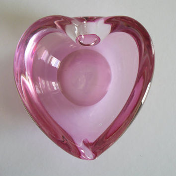 Vintage Murano Pink Heart Shaped Dish