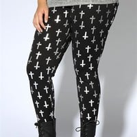 Plus Size Black Foil Cross Print Legging