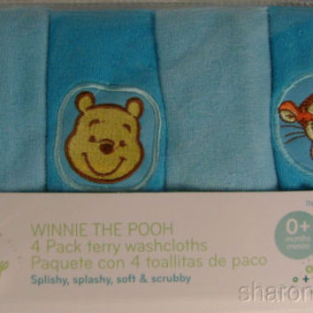 2 Disney Baby Infant Winnie The Pooh Piglet Tigger 4 Pk Terry Washclothes 10""
