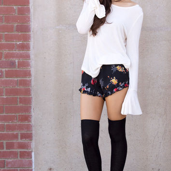 Fly Away Floral Ruffle Short