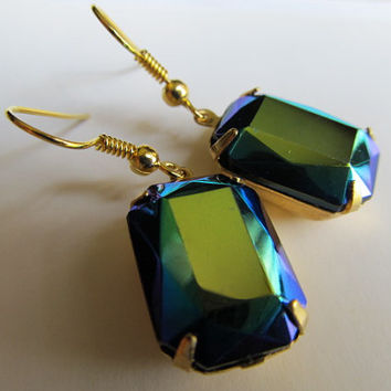 1920s Earrings Vintage Peacock Blue Earrings Octagon Earrings Iridescent Earrings- Garbo