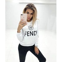 FENDI Fashionable Women Casual Print Long Sleeve Top Pants Set Two-Piece Sportswear White