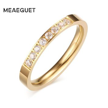 Meaeguet 3mm Romantic Wedding Engagement Rings For Women AAA+ CZ Stone Gold-Color Stainless Steel Fashion Female Wedding Bands