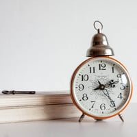 Alarm Clock, Desk Clock, Russian Alarm Clock, Brgith Orange, Clock with one Alarm Bell, Thanksgiving, Autumn, Thanks