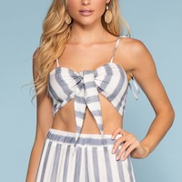 Havanna Tie-Front Stripe Crop Top