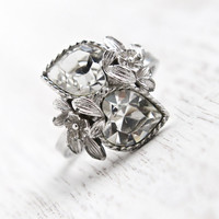 Vintage Clear Rhinestone Heart Ring -  Retro Signed Sarah Cov 1970s Silver Tone Adjustable Costume Jewelry / Double Heart Love Story