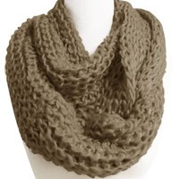 Peach Couture Chunky Warm Knitted Infinity Loop Scarf(Black)
