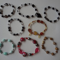 Handmade Beaded Braclets Set of Eight Black Clear Brown Blue Pink Glass Metal Plastic