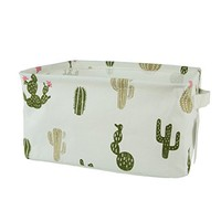 Small Canvas Fabric Foldable Organizer Storage Basket with Handle, Collapsible and Convenient for Nursery and Babies Room (Cactus)
