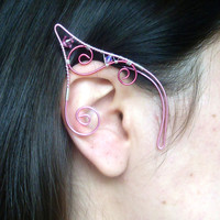 Pink & Silver Plated Handmade Wire Wrapped Elf Ear Cuffs With Pink Swarovski Elements, Fancy Dress, Pixie Ear Cuffs, LARP