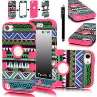 iPod Touch 5 Case, E LV iPod Touch 5 Case - Hard and Soft Hybrid Armor Defender Sports Combo Case for Apple iPod Touch 5 iTouch 5th Generation with 1 Screen Protector, 1 Black Stylus, 1 Water Resistant Bag and 1 E LV Microfiber Digital Cleaner (Tribal Hot