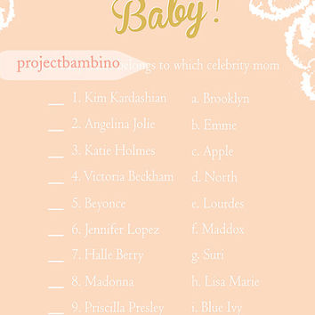 Celebrity Baby Name Shower Game Pink and Gold Baby Shower Game Printable Instant Download Digital Girl Baby Shower Games