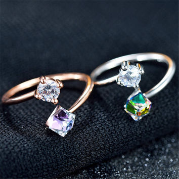 Womens Girls Unique Rose Gold Ring with Crystal Adjustment Fashion Casual Jewelry Best Gift One Size Rings-94