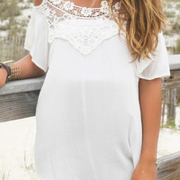 Summer Magic Off The Shoulder Lace Front Off White Top