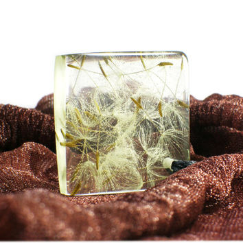 Adorable Resin Jewerly With Real Dandelion, Wish Resin Necklace, Dandelion Pendant, Make a Wish Jewelry With a Real Dandelion.