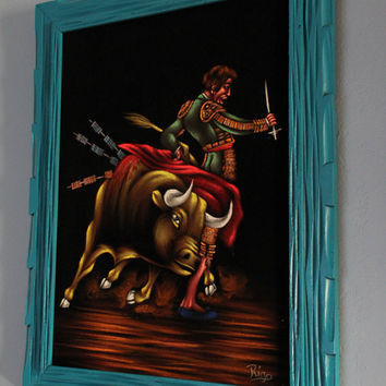 1970's Vintage Madador Bull Fighter Black Velvet Painting with Teal Frame
