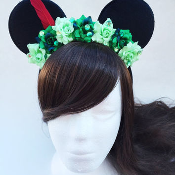 Peter Pan Mouse Ears, Minnie Mouse Ears, Disneyland, Disney World, Floral Mouse Ears, Mickey Mouse Ears