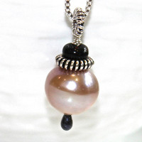 Freshwater Pearl Black Ethiopian Opal Oxidized Silver Coil Silver Box Chain Pendant Necklace