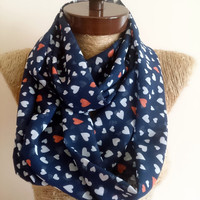 MOTHERS DAY heart print Infinty Scarf, Chiffon Infinity scarf, heart printed, Tiny hearts  Women Fashion Accessories, for her #mothersday