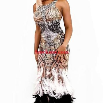 Nicole Diamante Feather Evening Dress(Ready To Ship) (Rhinestones)
