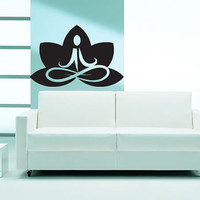 Awesome Gift Wall Decor Art Vinyl Sticker Decal Lotus Sign Aum Yoga Symbol 293