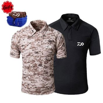 Men Camouflage Fishing Clothings Short Sleeve Cycling Fishing T Shirt Breathable Outdoor Sports Running Tops Jersey Free Gift