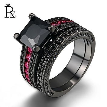 re high quality copper aaa cubic zirconia ring set black gold filled square pink crystal stone - Pink And Black Wedding Rings