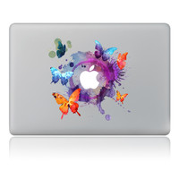 Ink painting of butterflies flying around Vinyl Decal Laptop Sticker For Apple Macbook Pro Air 11 13 15 inch Laptop Skin