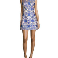 Alice + Olivia Carrie Structured Mini Dress, Blue